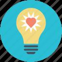 greeting, heart glowing, heart inside bulb, lightbulb, romantic