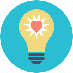 greeting, heart glowing, heart inside bulb, lightbulb, romantic icon
