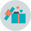 heart shaped, love present, opened gift box, passion, present, sensation icon