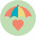 heart under umbrella, love care, protect health, save love, valentine icon