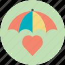 heart under umbrella, love care, protect health, save love, valentine