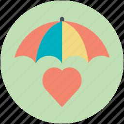 heart under umbrella, love care, protect health, save love, valentine icon
