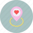 day, location, love, marker, romance, valentines icon