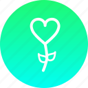 blossom, flower, heart, romance, rose, valentines icon