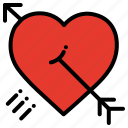 arrow, celebration, heart, love, love proposal, valentines day icon