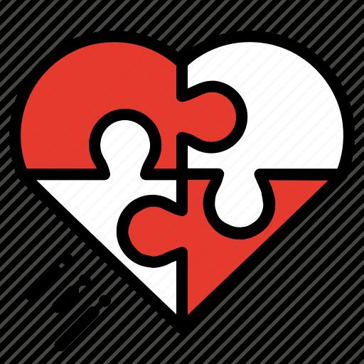 celebration, heart, love, puzzle, romantic, valentine icon