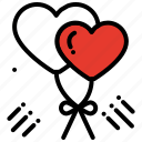balloon, celebration, heart, love, party, romantic icon
