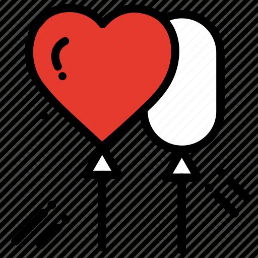 balloon, celebration, heart, love, party, romantic icon