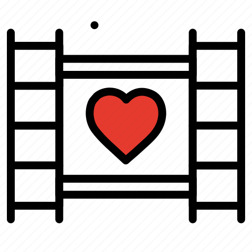 celebration, heart, movie, romantic movie, valentines day icon