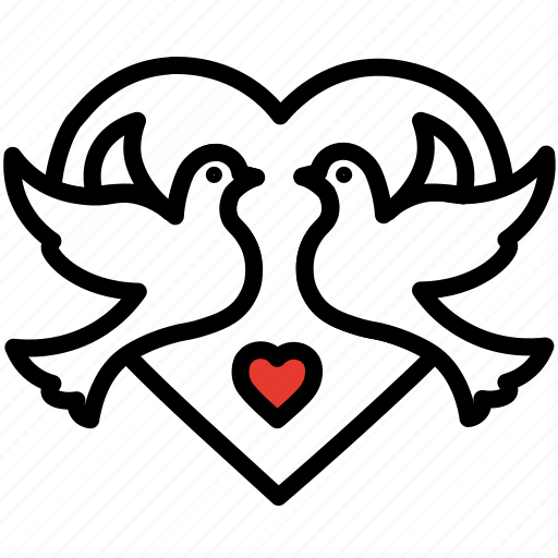 dove, gift, heart, love, romance, valentines day icon