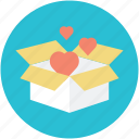cardboard box, freight, gift, hearts flying, opened box icon