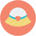 affection, heart sign, love, love inspiration, panama cap, panama hat icon