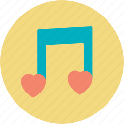 heart, love song, melody, musical note, romantic music icon