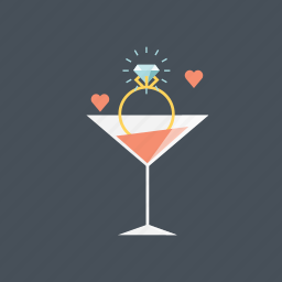 alcohol, drink, engagement, proposal, ring, valentine, valentines day icon