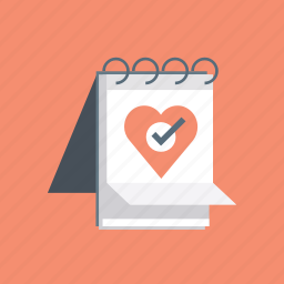 hearth, love, notebook, notepad, valentine, valentine's, valentines day icon