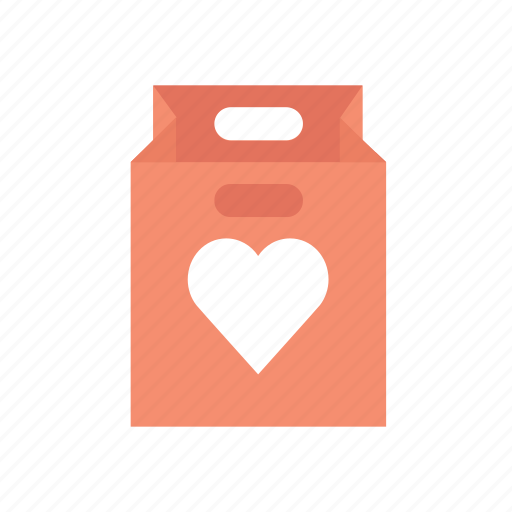 bag, gift, hearth, shopping bag, valentine, valentine's, valentines day icon