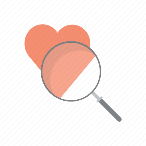 discover, find, hearth, love, magnifier, valentine, valentines day icon