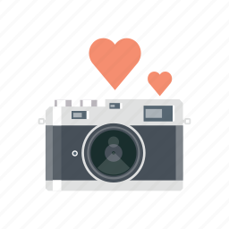 camera, hearth, love, photo, valentine, valentine's, valentines day icon