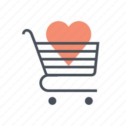 add to chart, hearth, love, shopping cart, valentine, valentine's, valentines day icon
