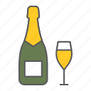champagne, bottle, glass, alcohol, beverage, holiday, party