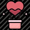 air, hot, balloon, love, valentines, day, transportation
