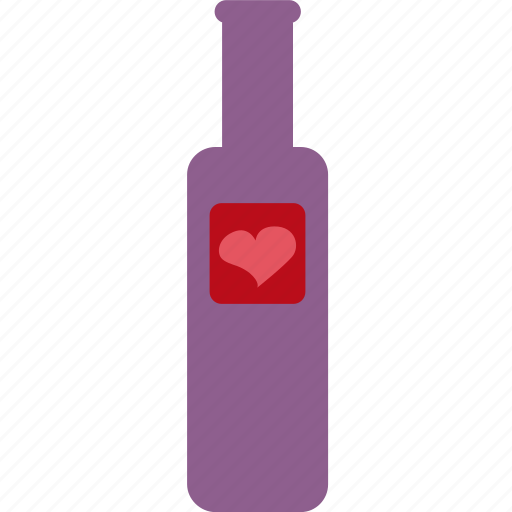 bottle, hearts, valentines icon