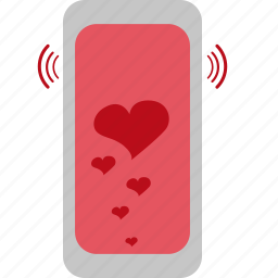 hearts, love, phone, pink, valentines icon
