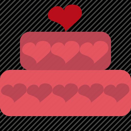 cake, dessert, heart, hearts, pink, valentines icon