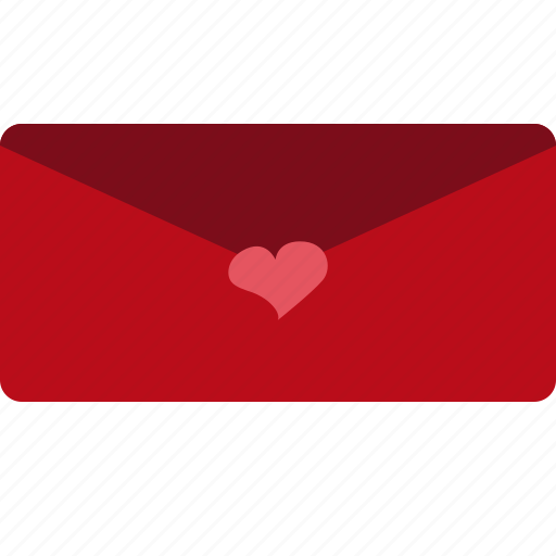 envelope, hearts, love, red, valentines icon