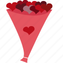 bouquet, flowers, hearts, valentines icon