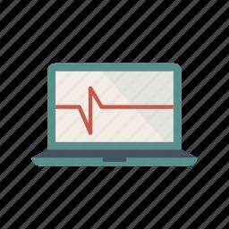 cardiogram, computer, diagram, healt, laptop, pc icon