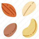 almond, food, nut, seed, snack, vegan, vegetarian icon