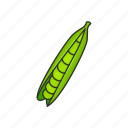food, greens, healthy, pea pod, peas, vegetable, veggies icon