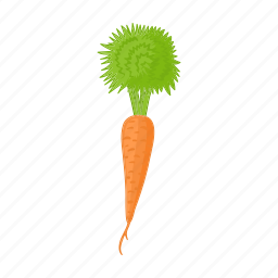 carrot, cartoon, food, healthy, organic, vegetable, vegetarian icon