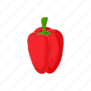 cartoon, fresh, pepper, red, sweet, vegetable, vegetarian icon
