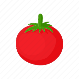 cartoon, food, fresh, red, ripe, tomato, vegetable icon