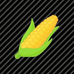 cartoon, corn, food, maize, vegetarian, yellow icon