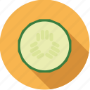 cucumber, food, fresh, groceries, slice, vegetable icon