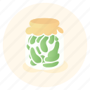 gherkin, greens, jar, pickles, pot, vegan, vegetarian icon