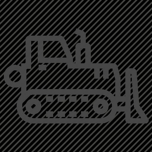 bulldozer, excavator, loader, vehicle icon