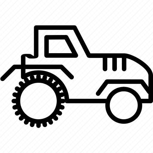 tractor, transportation, vehicle icon