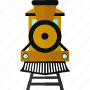 rails, railway, steam train, train, travel, vehicle, yellow icon