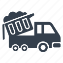 construction, dump truck, garbage truck, mining, rubbish, waste removal icon