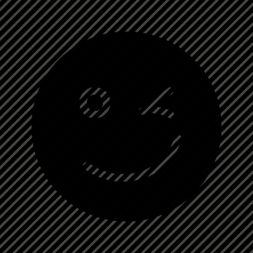 cute, emoji, emoticon, happy, smiley, tease, winking icon