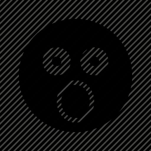 big eyes, big mouth, emoji, emoticon, glared, shocked, stunned icon