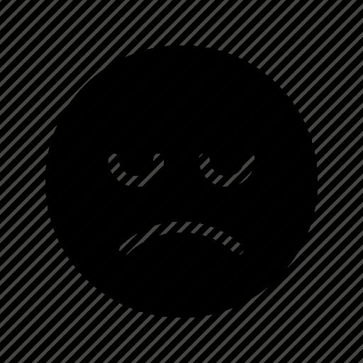 emoji, emoticon, grim, moody, pouting, sad, sullen icon
