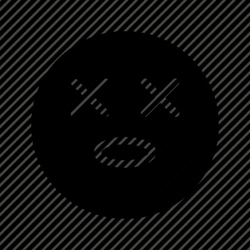 die, emoji, emoticon, killed, perish, sick, tired icon