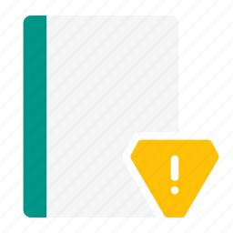 action, alert, book, notebook, read, warning icon
