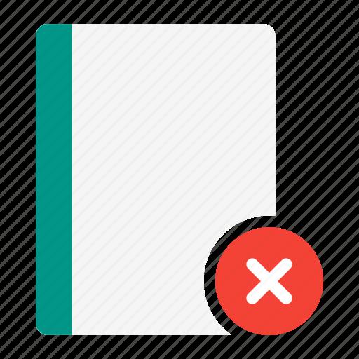 action, book, delete, notebook, read, remove icon