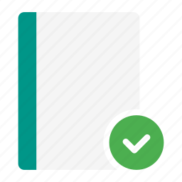 action, book, check, checkmark, done, notebook, read icon